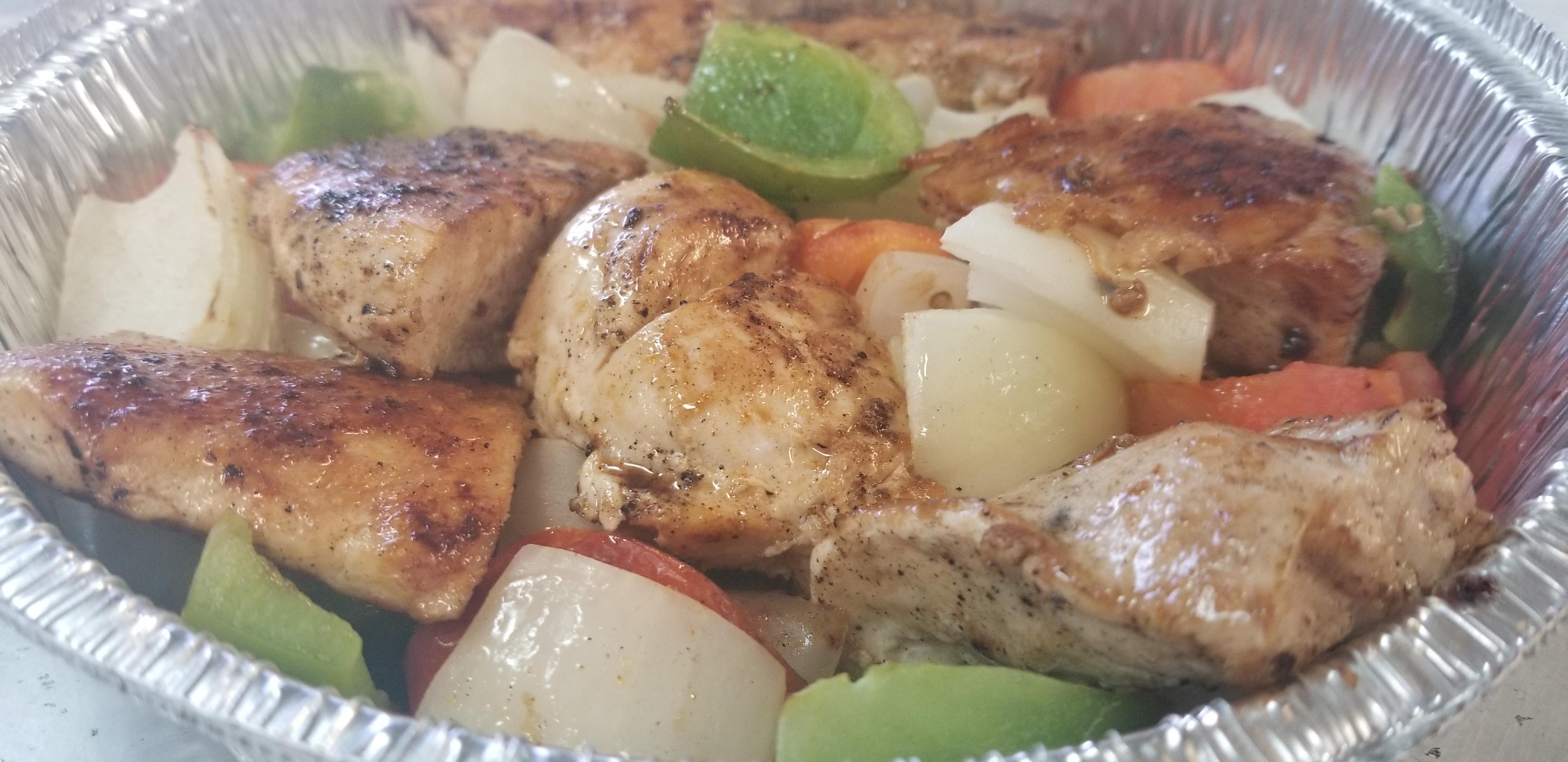 Chicken Kabob, Dessert and Drink